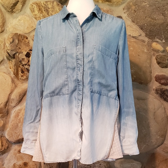 7691723afa291e Anthropologie Tops - Holding Horses Chambray Ombre Side Zip Button Up